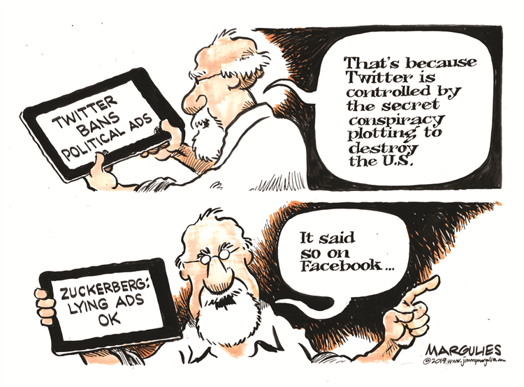 Editorial Cartoon: Twitter Facebook and Political Ads