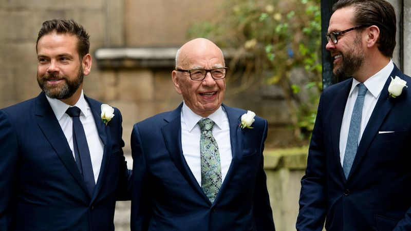 Rupert Murdoch is flanked by sons Lachlan, left, and James in 2016.