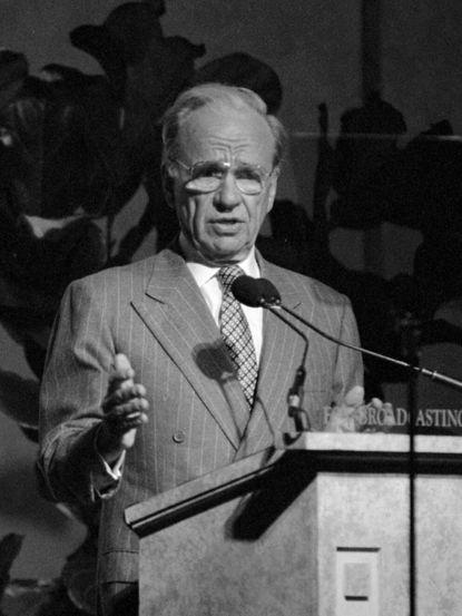 Rupert Murdoch addresses the Television Critics Assn. in 1994.